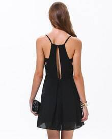 Black Spaghetti Strap Cut Out Flare Dress