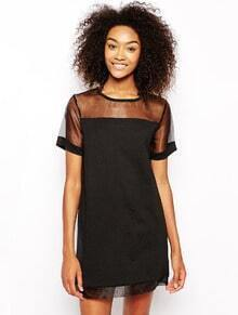Black Contrast Sheer Mesh Yoke Shift Dress