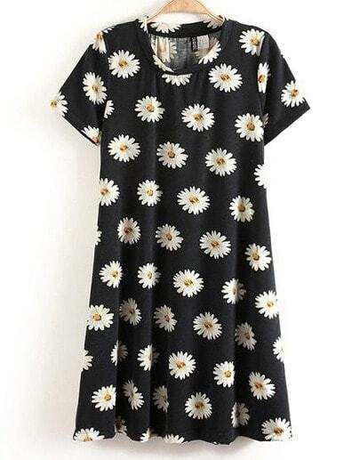 Black and White Short Sleeve Daisy Print Dress