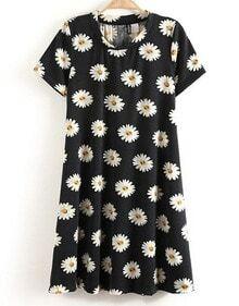 Black and White Short Sleeve Daisy Print Dress