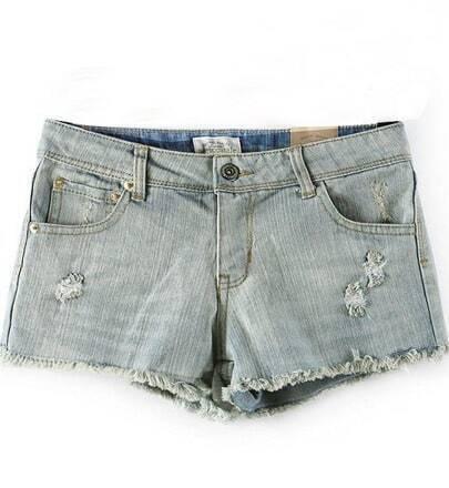Light Blue Ripped Hem Denim Shorts