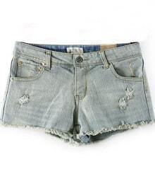 Light Blue Ripped Hem Denim Shorts
