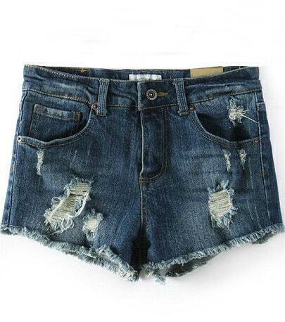 Dark Blue Ripped Hem Denim Shorts
