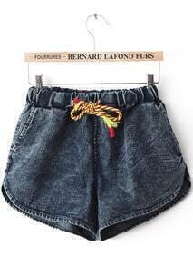 Navy Elastic Drawstring Waist Denim Shorts