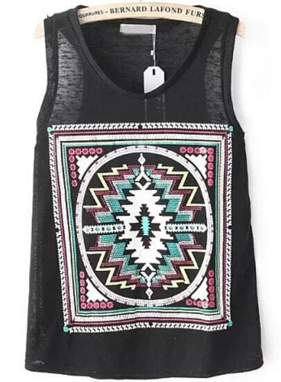 Black Sleeveless Geometric Print Loose Vest