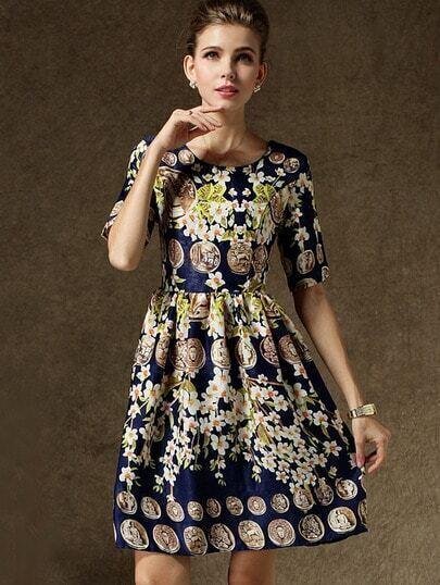 Navy Short Sleeve Floral Coins Print Dress