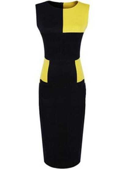 Yellow Contrast Black Body Conscious Dress