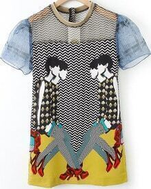 Black Short Sleeve Zigzag Character Print Dress