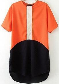 Red Short Sleeve Contrast Black Loose Dress