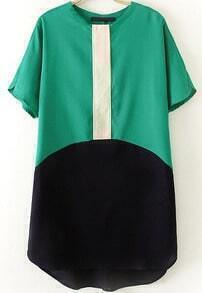 Green Short Sleeve Contrast Black Loose Dress