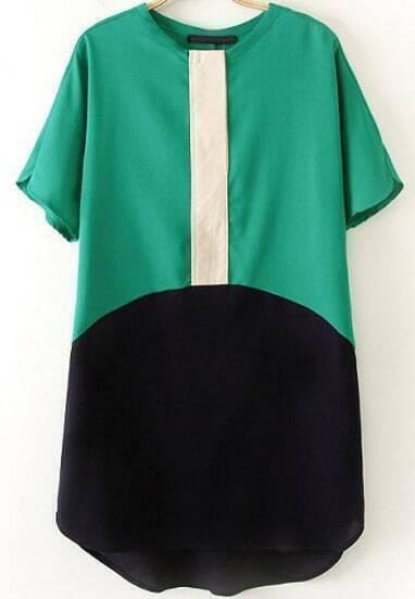 Green Short Sleeve Contrast Black Loose Dress