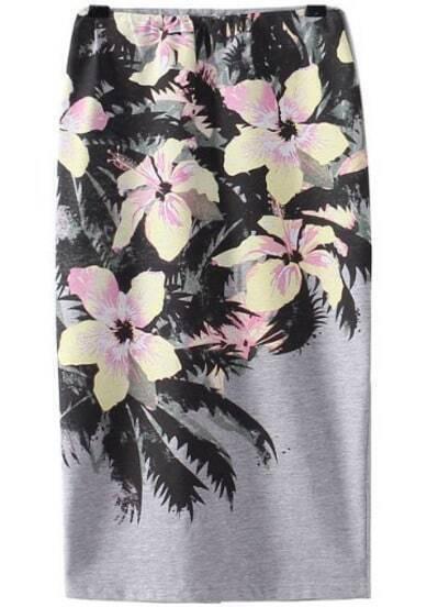 Grey Floral Elastic Split Skirt