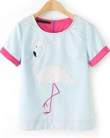 Blue Short Sleeve Swan Pattern Blouse