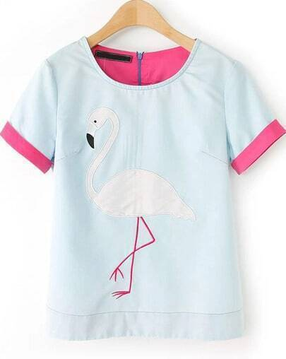 Blue Short Sleeve Swan Pattern Blouse