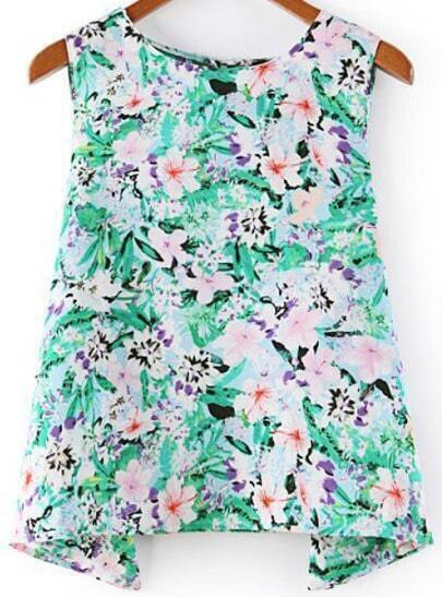 Green Round Neck Sleeveless Floral Loose Blouse