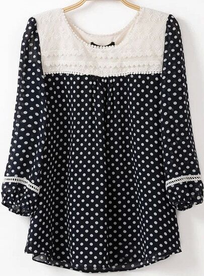Navy Contrast Lace Collar Polka Dot Blouse