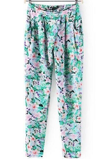 Green Elastic Waist Floral Loose Pant