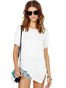 White Short Sleeve Asymmetrical Loose T-Shirt