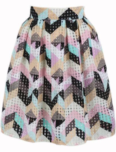 Multicolor Plaid Geometric Print Pleated Skirt