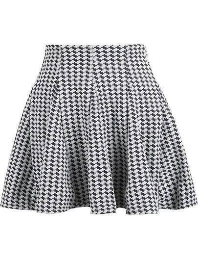 Black White Houndstooth Ruffle Skirt