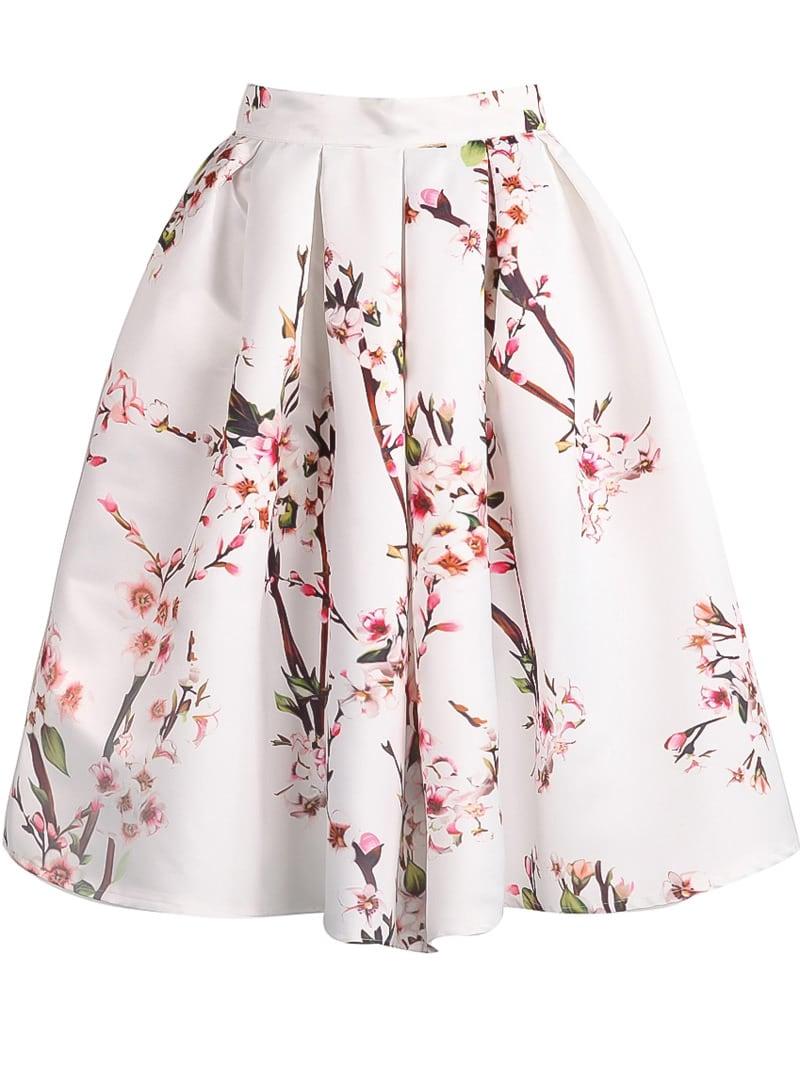 Белая модня плиссированная юбка с цветочным принтом от SheIn