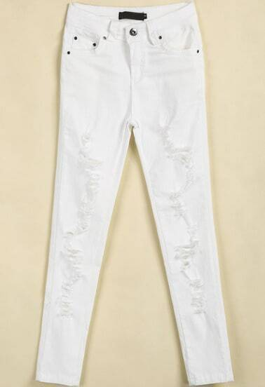 White Pockets Ripped Denim Pant