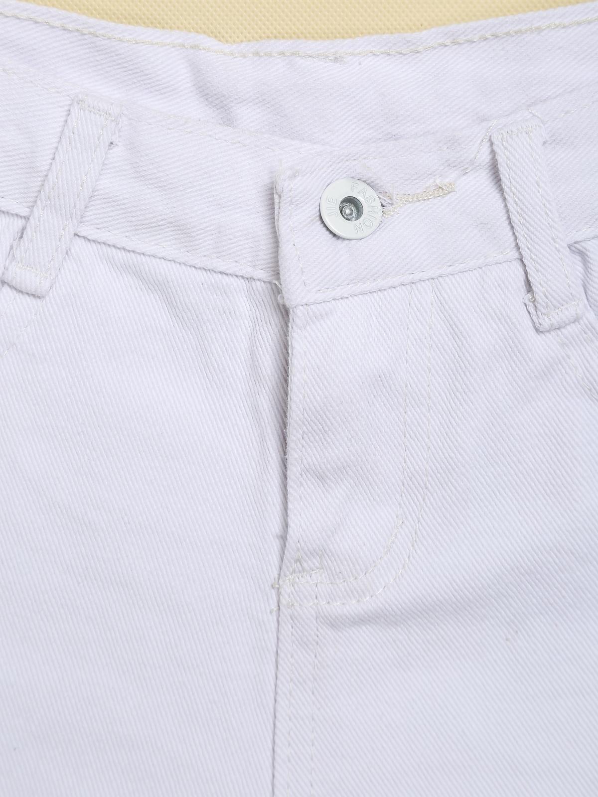 White Ripped Fringe Denim Shorts -SheIn(Sheinside)