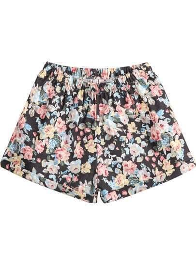 Black Elastic Waist Floral Loose Shorts