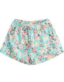 Green Elastic Waist Floral Loose Shorts