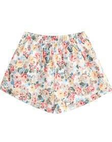White Elastic Waist Floral Loose Shorts
