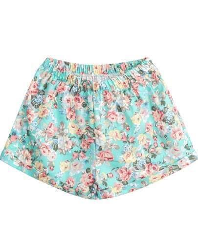 Green Elastic Waist Floral Loose Shorts