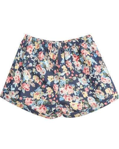 Blue Elastic Waist Floral Loose Shorts