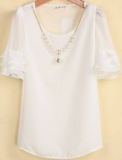 White Ruffle Short Sleeve Shoulder Pads Blouse