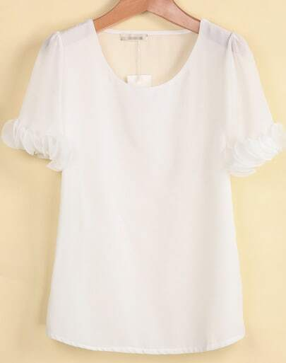 White Short Sleeve Ruffle Chiffon Blouse