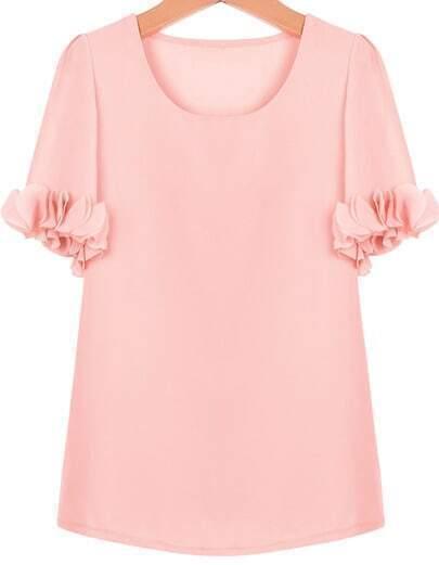 Pink Short Sleeve Ruffle Chiffon Blouse