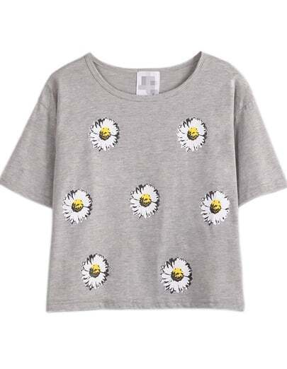 Grey Short Sleeve Daisy Print T-Shirt