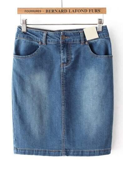 Blue Bleached Bodycon Denim Skirt