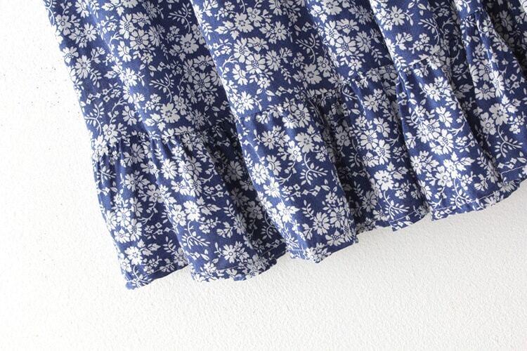 plissierter rock mit blumenmuster blau german shein sheinside. Black Bedroom Furniture Sets. Home Design Ideas