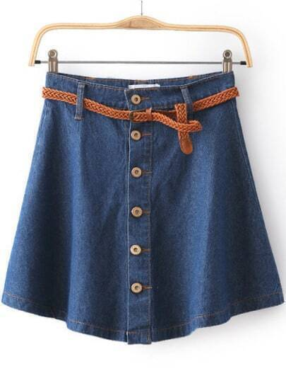 Blue High Waist Buttons Denim Skirt
