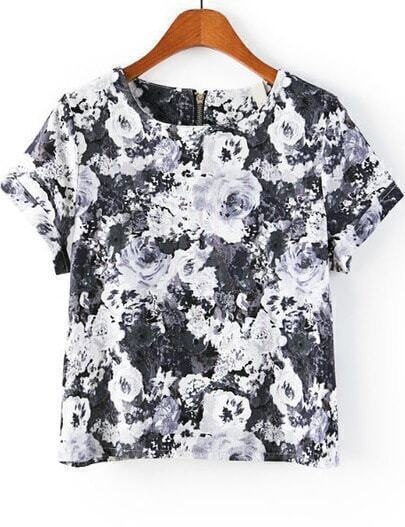 Black Short Sleeve Floral Zipper T-Shirt