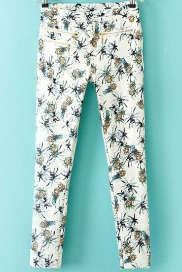 White Elastic Pineapple Print Slim Pant
