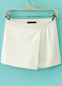 White Zipper Asymmetrical Skirt Shorts