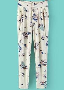 White Elastic Waist Floral Pencil Pant