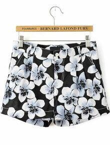 Black Floral Pockets Straight Shorts
