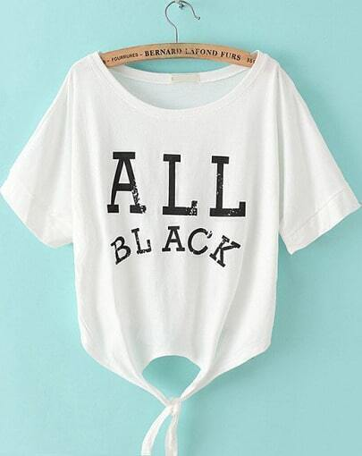 White Batwing Short Sleeve Letters Print T-Shirt