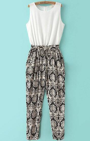 White Black Sleeveless Vintage Floral Chiffon Jumpsuit