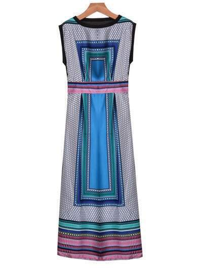 Blue Sleeveless Vintage Geometric Print Dress