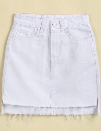 White Pockets Fringe High Low Denim Skirt