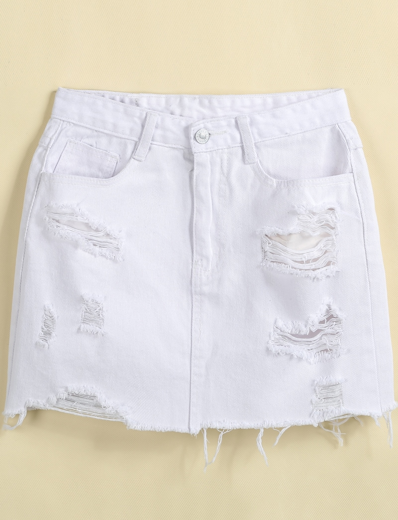White Ripped Pockets Fringe Denim Skirt -SheIn(Sheinside)