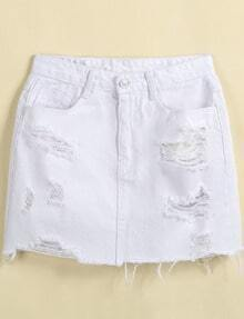 White Ripped Pockets Fringe Denim Skirt
